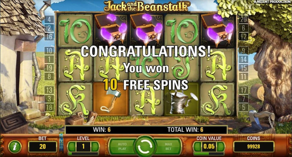 Jack and the beanstalk slot netent