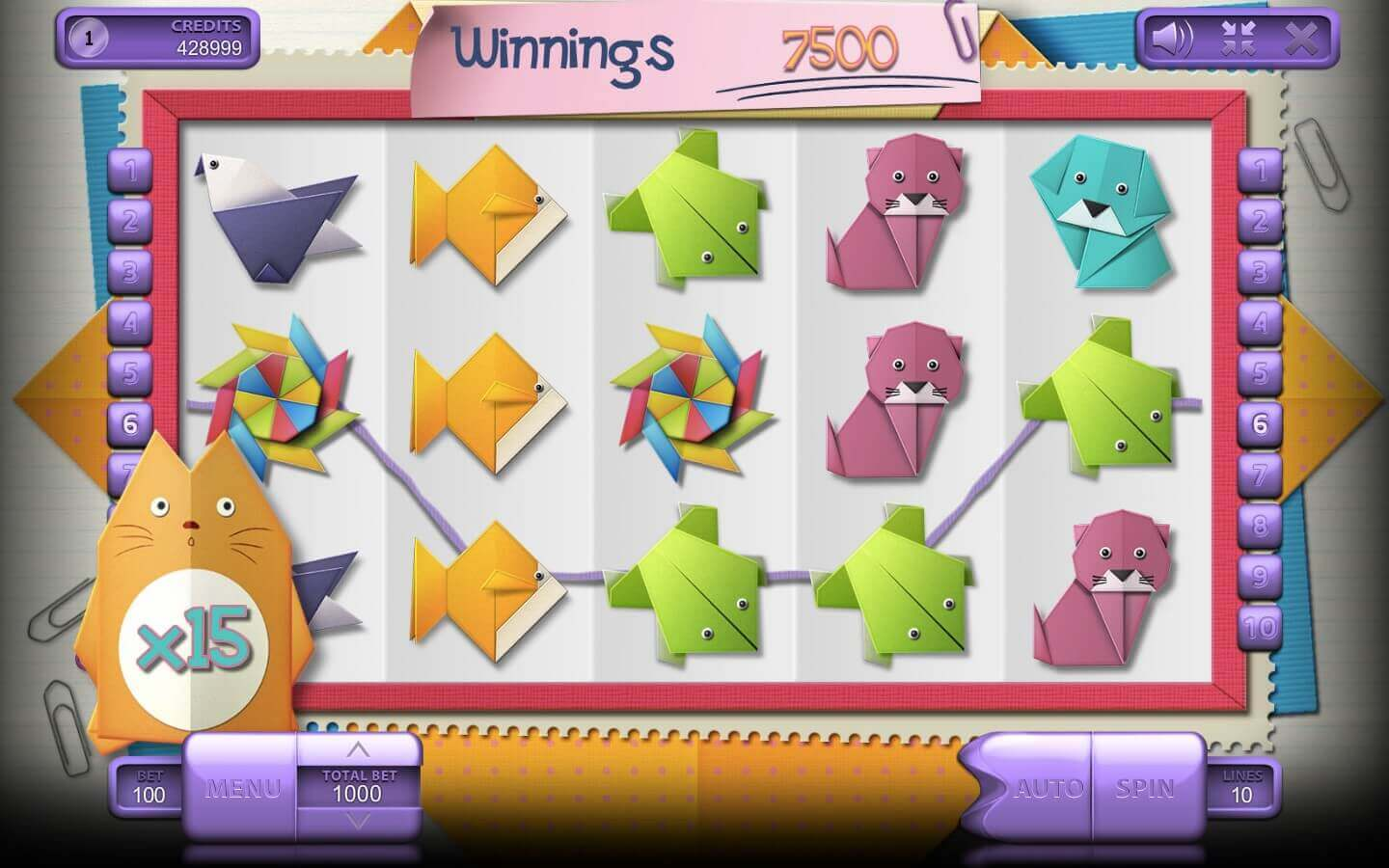 Origami slot machine review