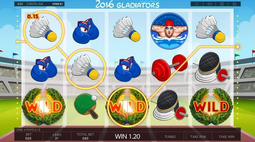 2016 Gladiators play online slot
