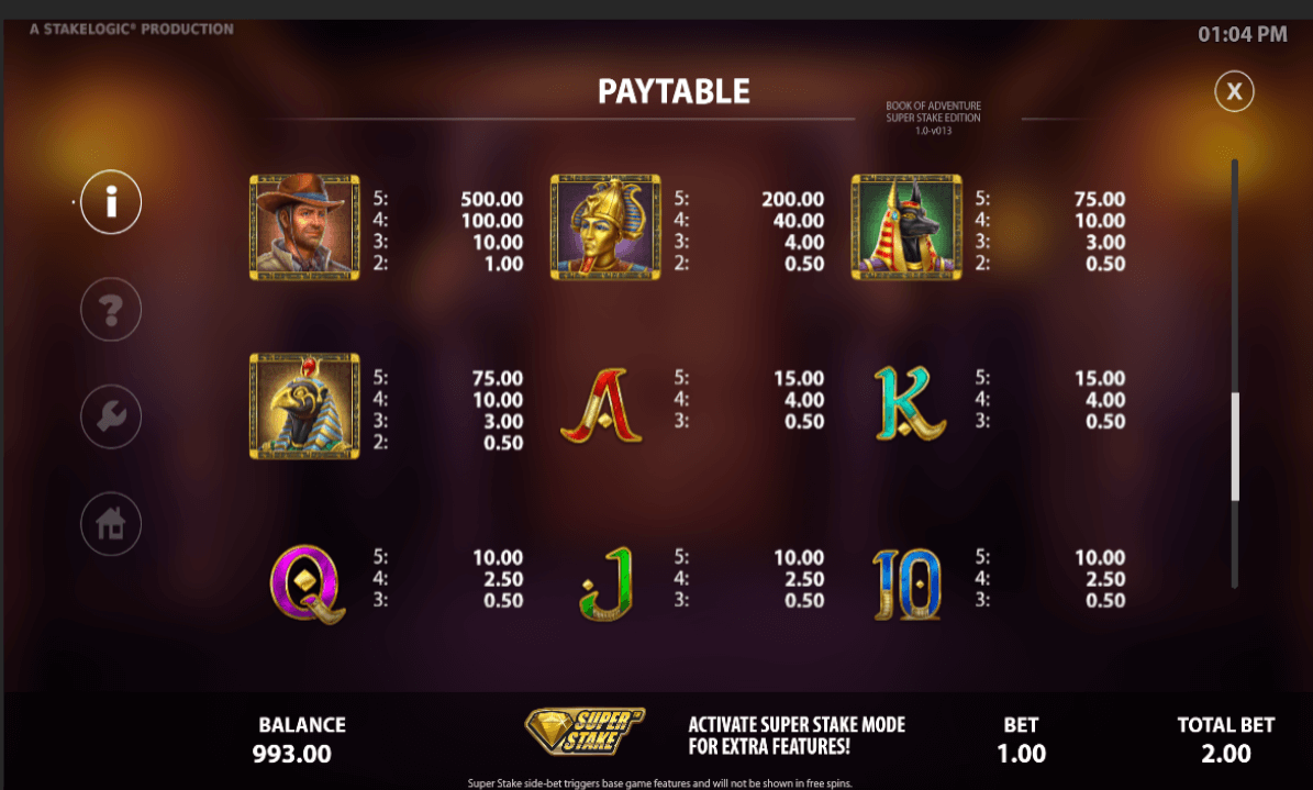 Book of Adventure Pay Paytable