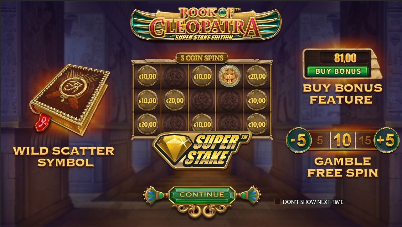 Book of Cleopatra Super Stake interface
