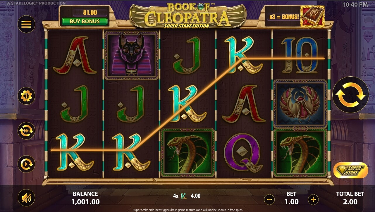 Book of Cleopatra Super Stake gains normaux