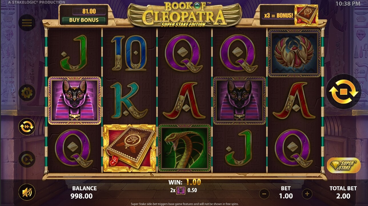 Book of Cleopatra Super Stake win