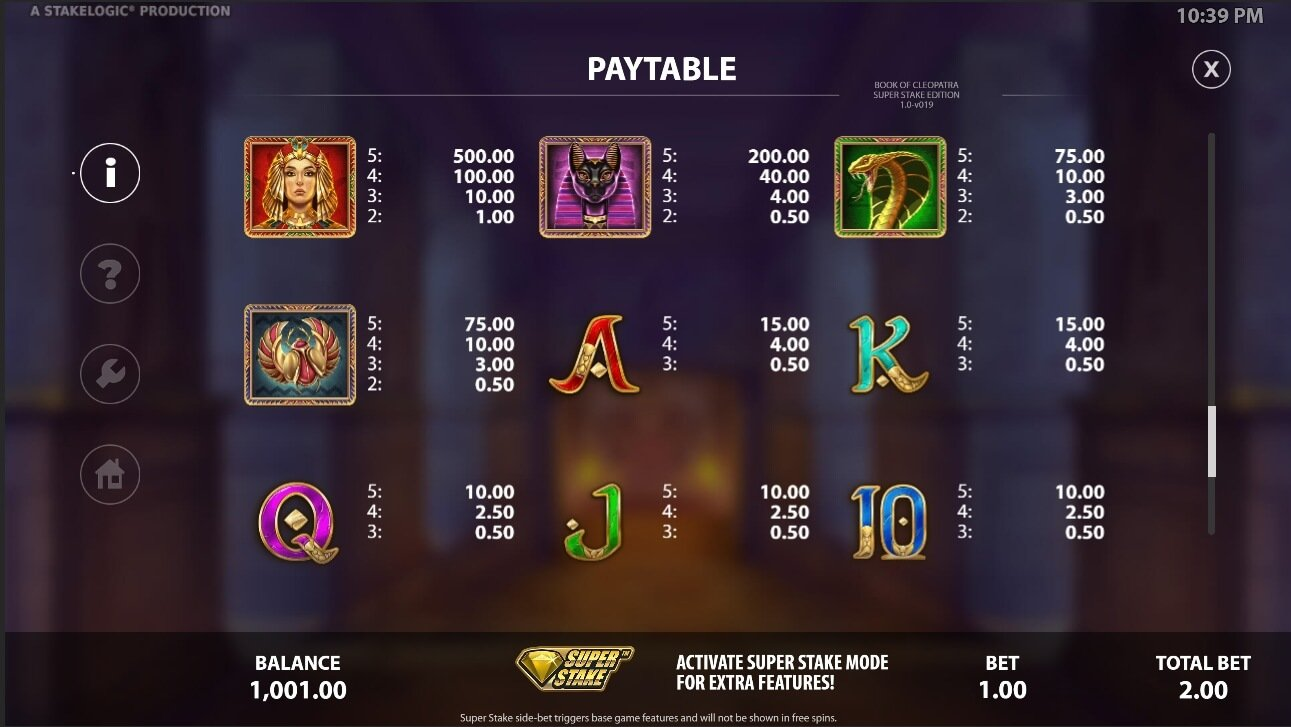Book of Cleopatra Super Stake paytable