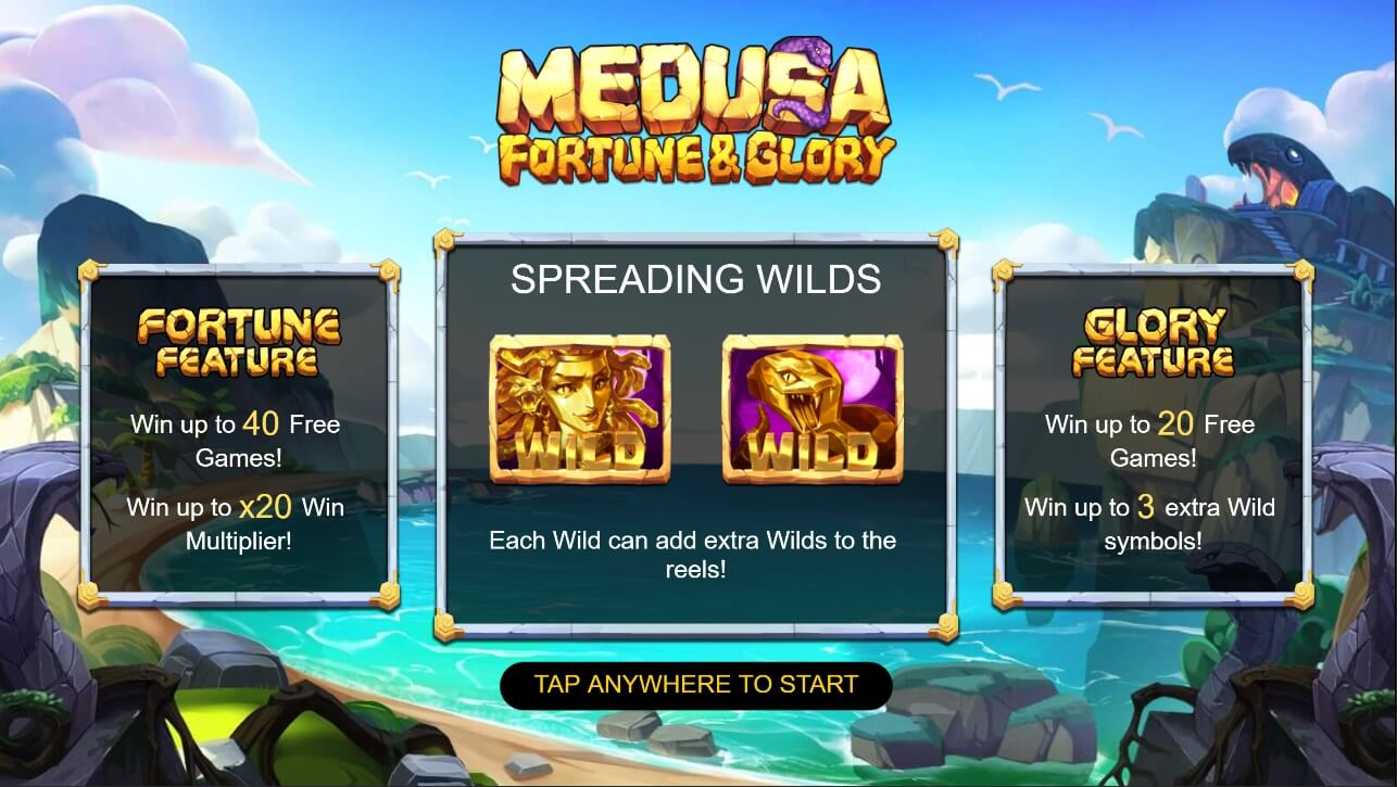 Medusa Fortune and Glory splash screen