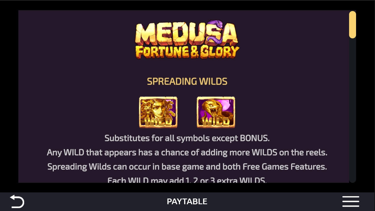 Medusa Fortune and Glory spesialtegn