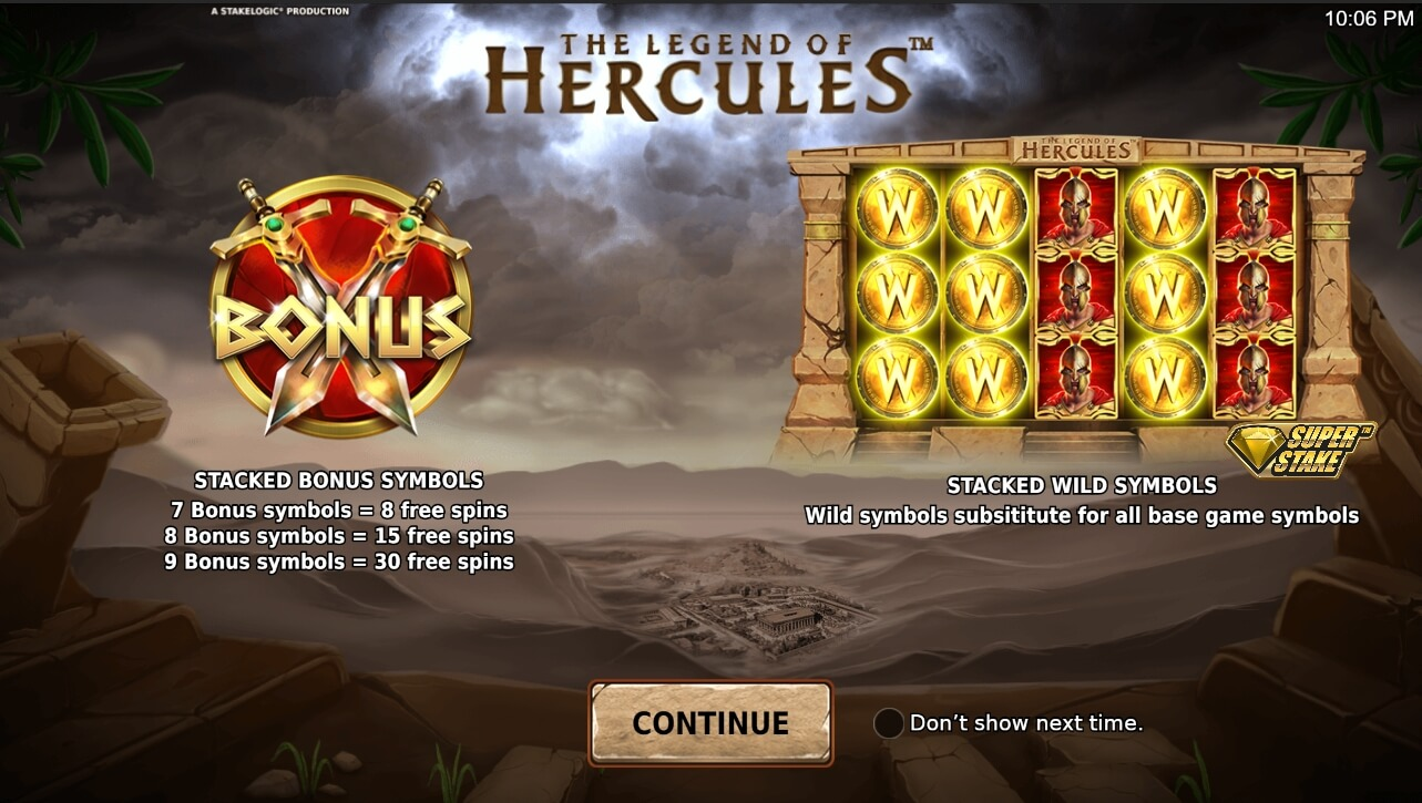 The Legend of Hercules interface