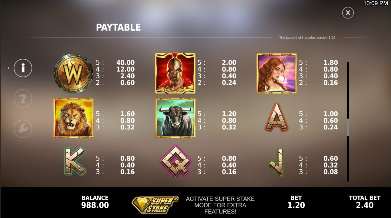 The Legend of Hercules paytable