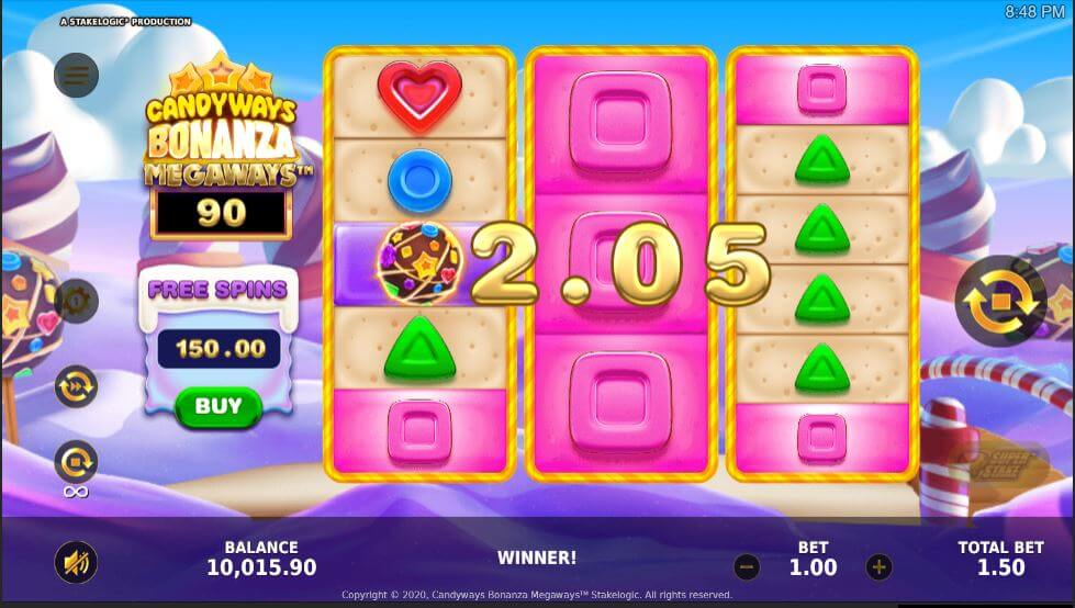 Candyways Bonanza Megaways выигрыш